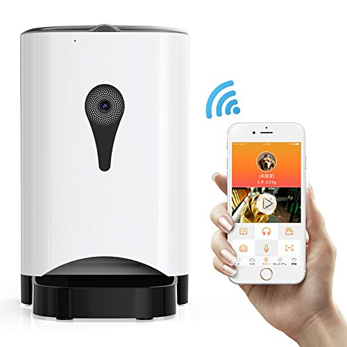 Petacc 自動給餌器 猫 犬 スマホ連動型自動給餌器 スマホアプリ タイマー式 見守りカメラ リアルタイム会話可 録音可 ビデオレコーディング可 4.5L