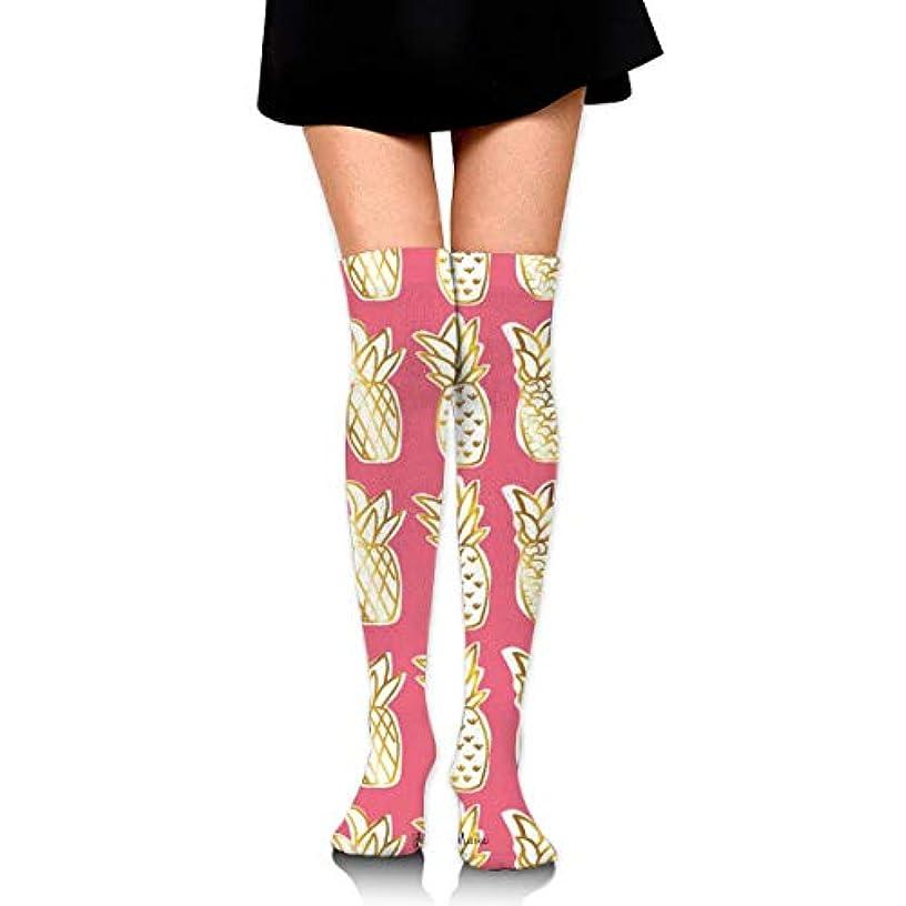 検出コウモリはちみつMKLOS 通気性 圧縮ソックス Breathable Extra Long Cotton Thigh High Golden Pineapple Socks Over Exotic Psychedelic Print...