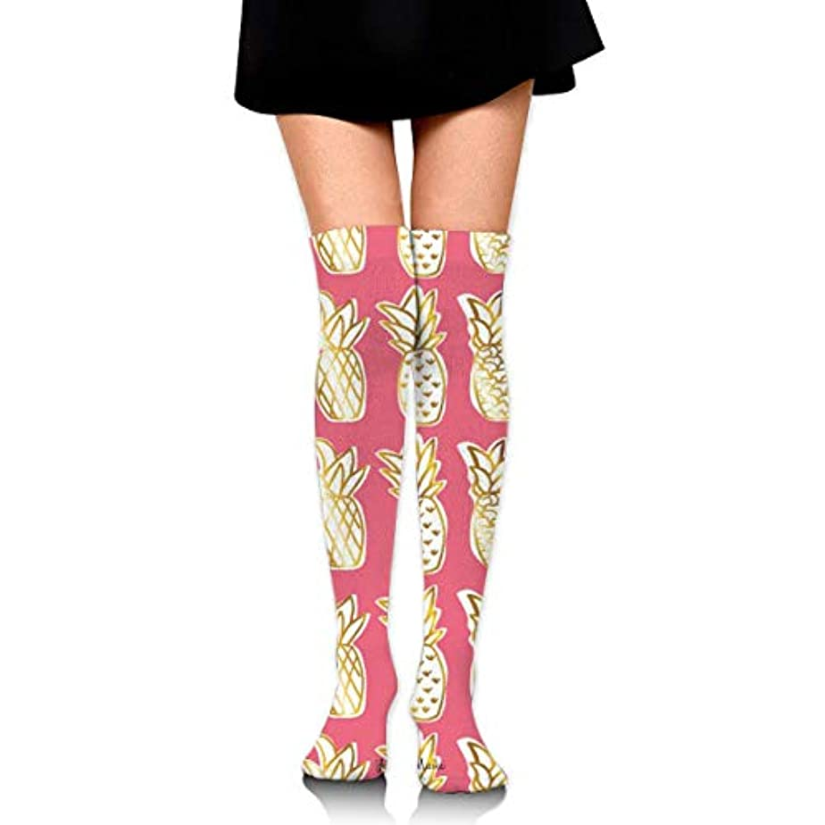 バイオレット中絶情報MKLOS 通気性 圧縮ソックス Breathable Extra Long Cotton Thigh High Golden Pineapple Socks Over Exotic Psychedelic Print...