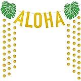 ハワイアン アロハ パーティー デコレーション ラージ ゴールド キラキラ アロハ バナー サマー トロピカル ルアウ パーティー サプライ 記念品