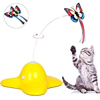 猫のおもちゃ電気回転蝶屋内インタラクションからかうワンド2つの代替品蝶ペット子猫のおもちゃ