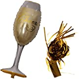 amleso ワインシャンパンボトル ホイルヘリウムバルーン ティンセルタッセル クリスマス誕生日パーティー 2種類 - シャンパンボトル
