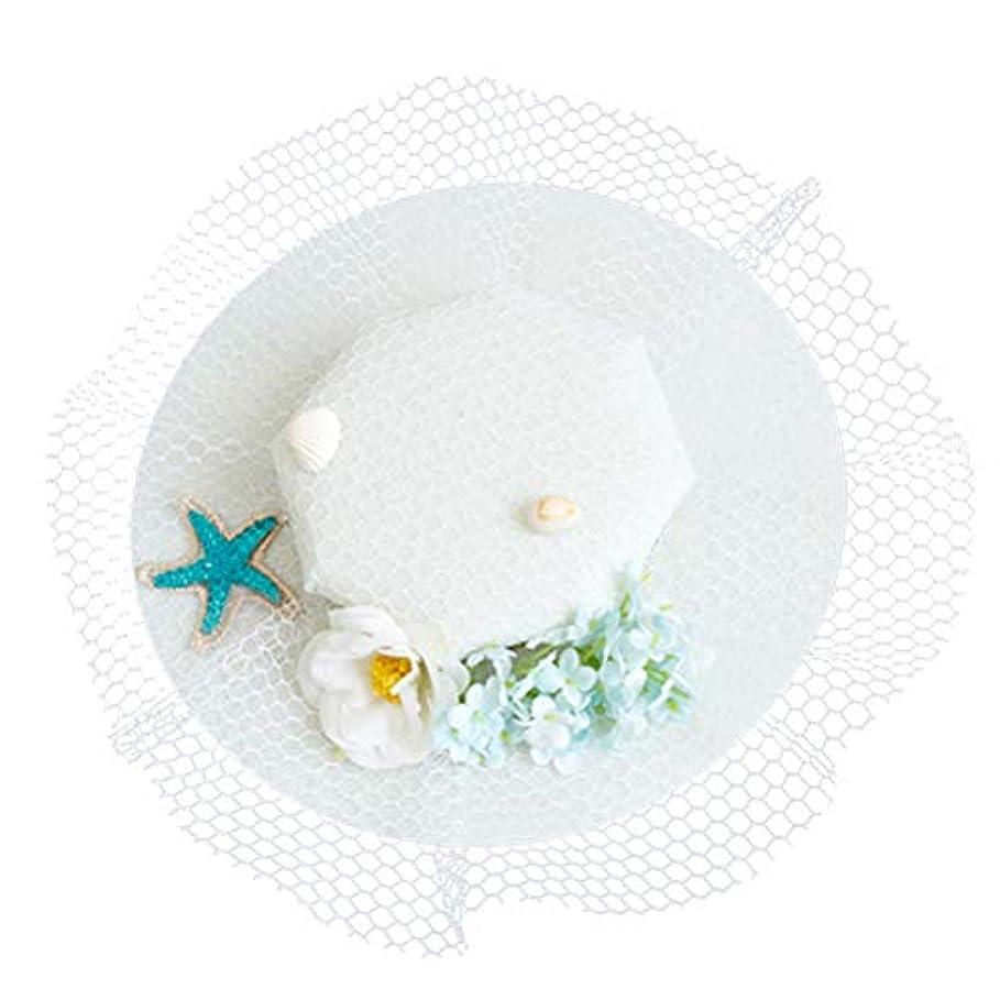 サイレントすり減るメーカーLurrose 魅惑的な帽子ヘアピンフラワーシースターガーゼバレッタヘッドドレス