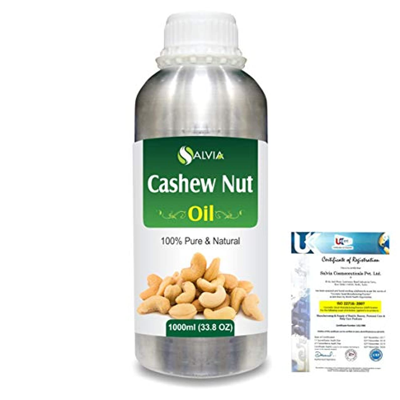 警告スクラップブック代理人Cashew Nut (Anacardium Occibentale) 100% Pure Natural Carrier Oil 1000ml/33.8fl.oz.