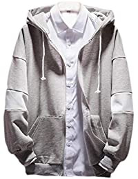 gawaga メンズアウターウェアコートスプリントは、フルジップフードジョガースウェットシャツをプリント