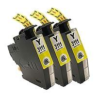"""LC3111(Y/イエロー)-3本 ブラザー用 互換 インクカートリッジ 残量表示付き APEX製の最新ICチップを採用 【互印製】 ISO14001、ISO9001及び国際品質規格""""STMC""""認証工場製造品"""
