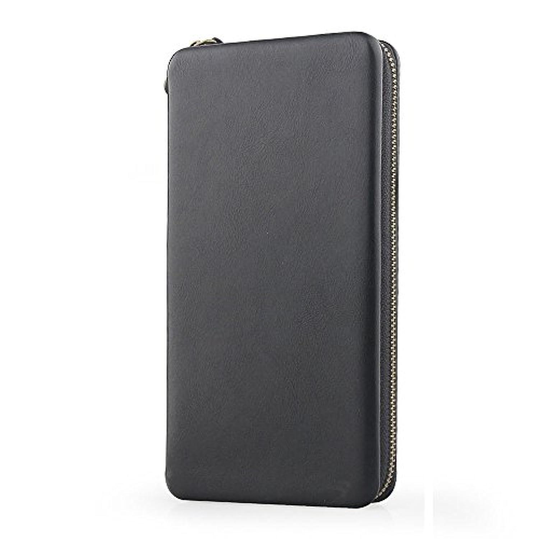 ラウンドファスナー 長財布 キーパッケージ 携帯ケース (黒い1)