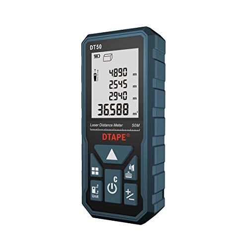 DTAPE レーザー距離計 最大測定距離50M 距離/面積/体積/ピタゴラス間接測定/連続測定 自動計算 軽量距離計 IP54防水規格 日本語のお取り扱い説明書 DT50