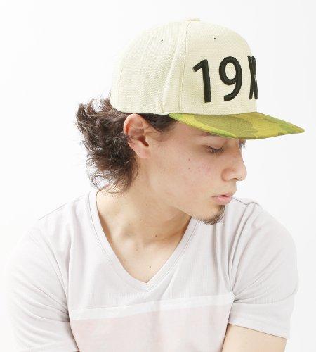 カモフラ柄切替19XXロゴ刺繍ベースボールキャップ BBキャップ 帽子 メンズ レディース Fサイズ ホワイト