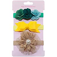 Tonsee 3点セット ベビー ヘアアクセサリー 子供 ヘアバンド 花 ちょう結び 髪飾り 赤ちゃん 出産祝い 誕生日 プレゼント (C)