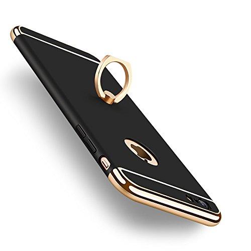 KYOKA iphone6ケース iphone6s ケース リング付き 衝撃防止 スタンド機能 3パーツ式 アイフォン6ケース おしゃれ 高級感 薄型 携帯カバー (iPhone6/6s, ブラック)