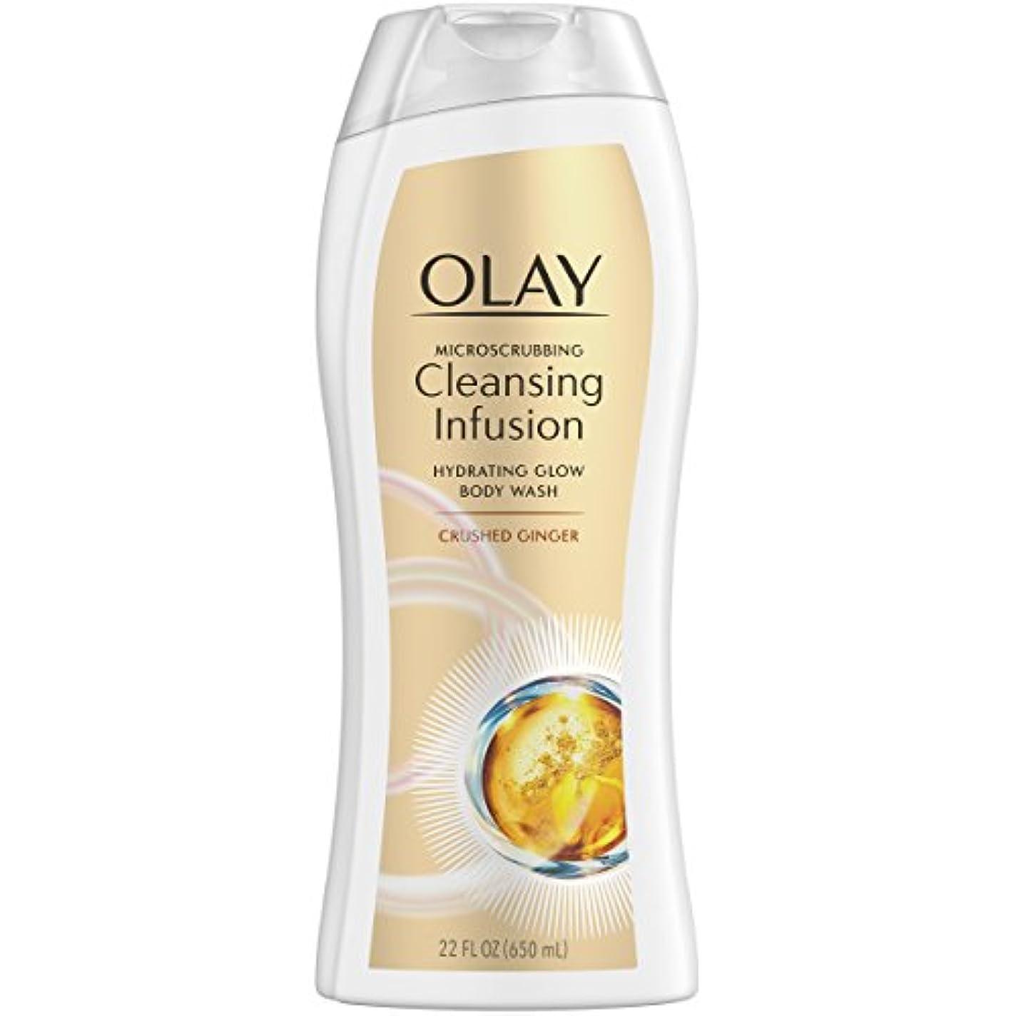 糞プラグ法律Olay Microscrubbingクレンジング注入ボディウォッシュ、砕石ジンジャー、22オンス
