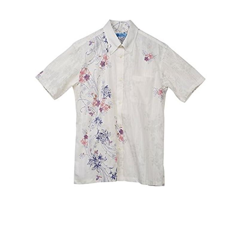 お祝いインタフェース織機MAJUN (マジュン) かりゆしウェア アロハシャツ かりゆし 結婚式 メンズ ボタンダウン フラワーライナー オフホワイト S