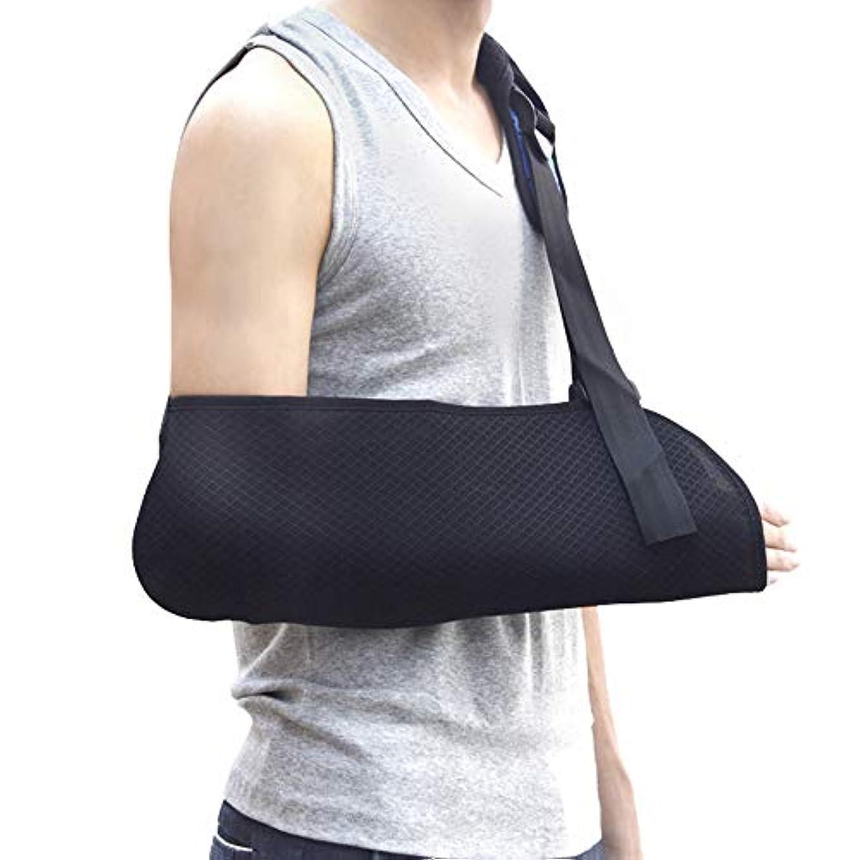 報告書波大邸宅アームスリング、ショルダーイモビライザー、壊れたアームイモビライザー用手首肘サポート人間工学的、軽量、通気性メッシュ-男性と女性の両方に適合、フリーサイズ