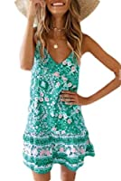 chenshiba-JP Women Striped Crew Neck Sleeveless Casual Long Dress with Side Pockets Green S