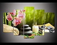 WLHBH 5パネル大プリントキャンバス絵画キャンドル石の花キャンバスプリントモダンな家の装飾壁アート画像用リビングルーム-40x60 40x80 40x100cm,枠な