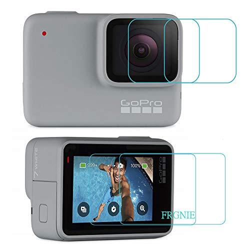 【2枚+2枚】For Gopro Hero7 Silver / Hero7 White スクリーン保護フィルム, FRGNIE 9H 強化 ガラス 保護フィルム 対応 Gopro HERO7 専用 (White/Silver) 防止する 氣泡 保護膜 -
