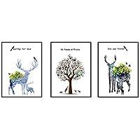 JaneMoXuan 壁掛けインテリア絵画 「ヘラジカ」「多色の木」「四不像」アートフレーム インテリア 絵画 綿キャンバス生地 ポスター 釘付き 壁掛け フレーム付き モダン ウォールデコ 額入り 北欧風 部屋 装飾 (黒木枠40cmX30cm, タイプA1+2+3, 3枚)