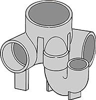 下水道関連製品>ビニマス>M 100-150シリーズ 90度曲り/トラップ付(UT-L) M-UT-L兼100X75S-150 Mコード:40515 前澤化成工業