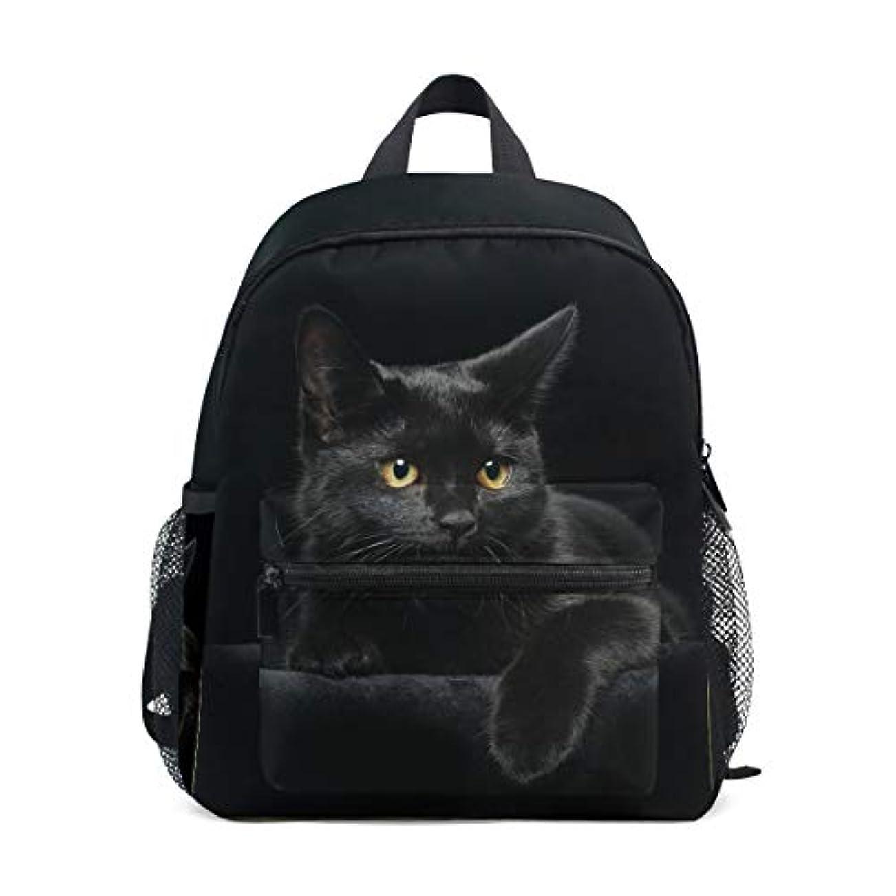 レルム知覚できる週間VAWA キッズリュック 子供用 リュックサック おしゃれ 軽量 かわいい 猫柄 黒い猫 キッズバッグ 女の子 大容量 防水 小学生 アウトドア 通学 通園