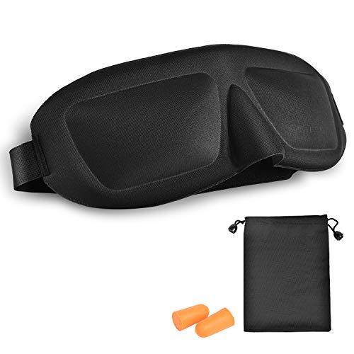 アイマスク 軽量 安眠 遮光 3D立体型 遮光性 (耳栓&収納袋付き) 圧迫感なし 疲労恢復 ブラック