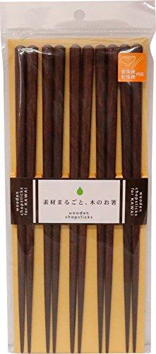 カワイ 日本製箸 食洗機対応 木箸5膳セット 茶 23cm 26534