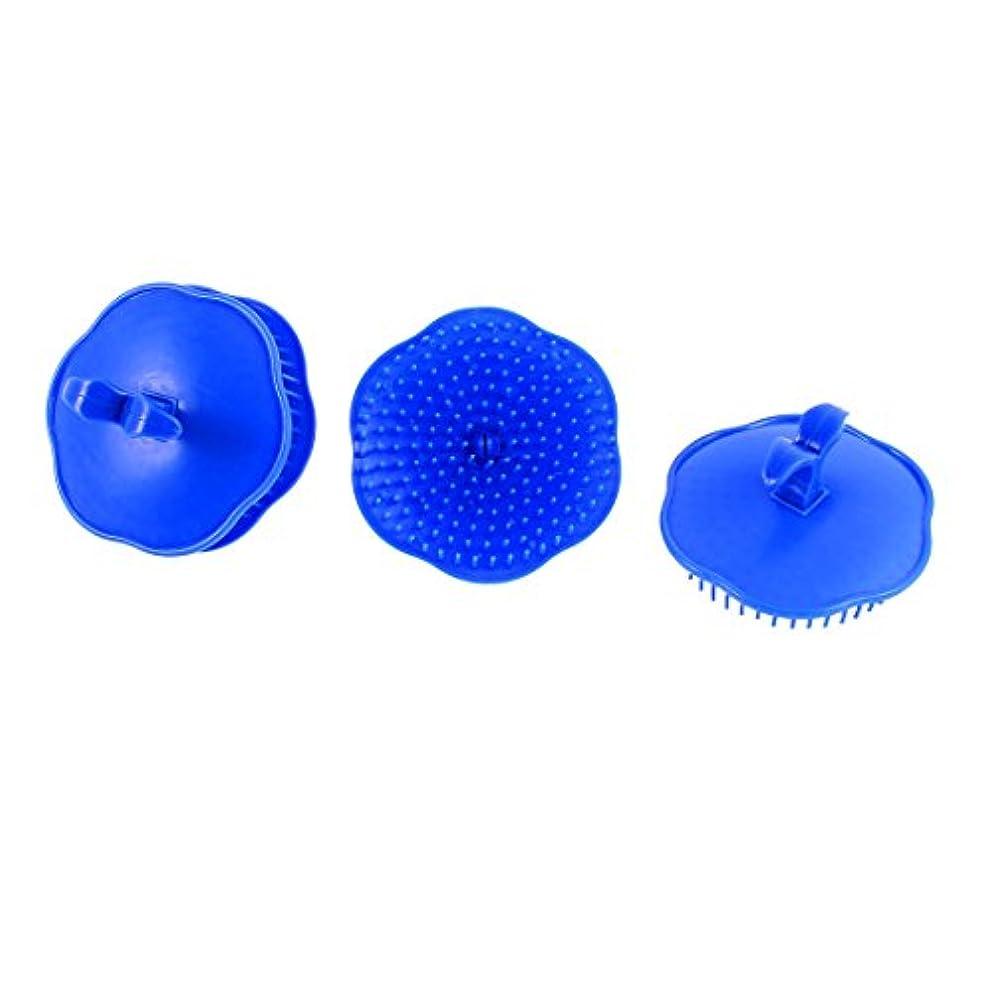 嘆く裂け目厚さuxcell シャンプーブラシ 洗髪櫛 頭皮 マサージ プラスチック ダークブルー 4個