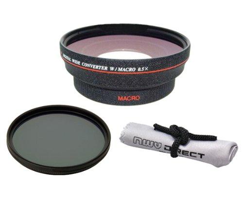 Nikon 1j3HD (高定義) 0.5X広角レンズ、マクロ+ 82mm円偏光フィルタ+ NW Directマイクロファイバークリーニングクロス+リング( 40.5 52)