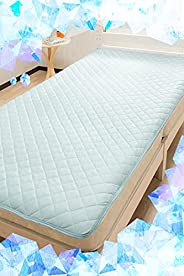 System K Cool Bed Pad, Summer, Cool Feeling, Antibacterial, Odor Resistant, Cold Pad, Blue, 1. Single