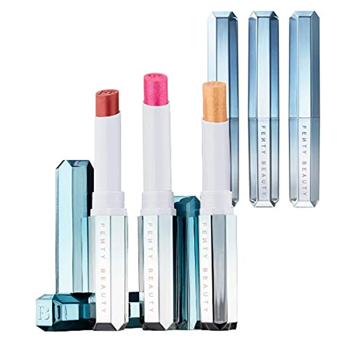 特許リンスギャングスターFENTY BEAUTY BY RIHANNA 限定版Frosted Metal Lipstick Snow Daze - Cuffing Season, What's Your Numb'a, So Chilli [海外直送品...