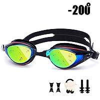 光学スイミングゴーグル防曇メンズスイミングメガネUVプロテクション調整可能近視水泳ゴーグルスイミングキャップ (Color : Myopia 200)