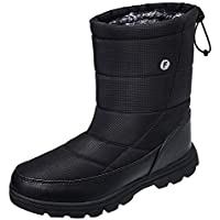 Crova Mens Womens Snow Boots Winter Lightweight Anti-Slip Waterproof Fur Lined Cold Weather Shoes Black Size: 14