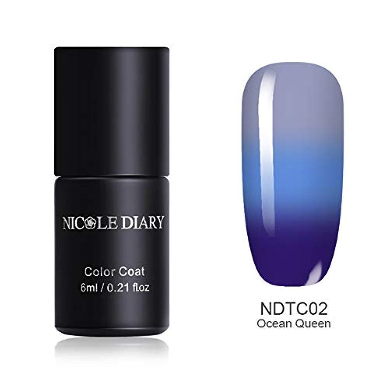 文改修十分NICOLE DIARY 温度によって色が変わるジェル 3段階の色に変化 カメレオンジェル 6ml UV/LED対応 6色 マジックカラージェル ジェルネイル NDTC02 Ocean Queen [並行輸入品]