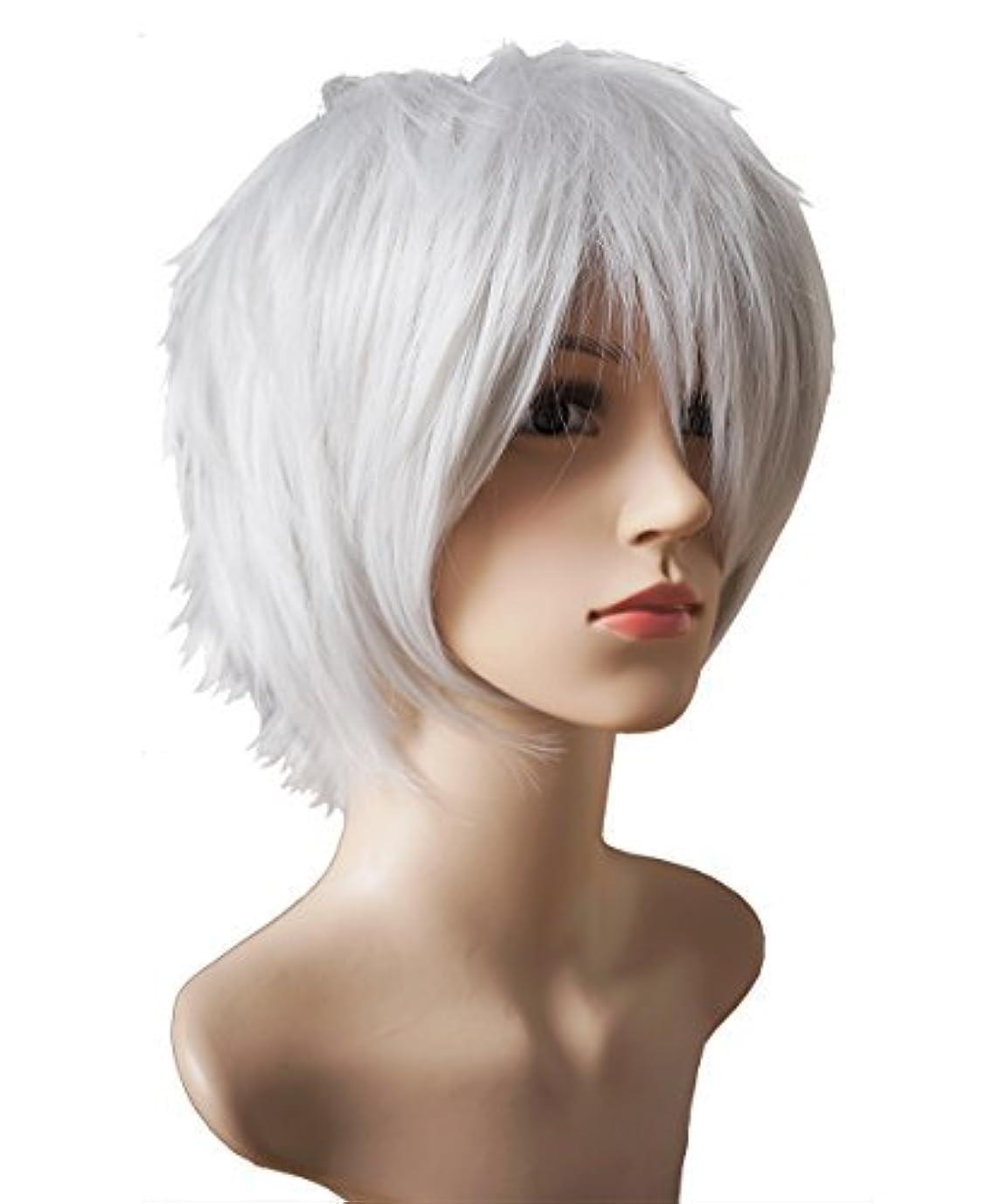 去る規則性キルトANOTHERME 別の私のレディース、メンズの層状の短いストレートかつらの銀白髪耐熱ファイバーウィッグパーティーコスプレ東京グールは県kanekiデスノート