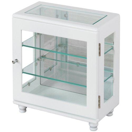 コレクションケース ワイド ディスプレイケース ガラス棚 3段 幅32×奥行17×高さ35cm ホワイト TKM-7080WH