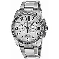 カルティエCalibre Men 's Automatic Chronograph Watch withステンレススチールブレスレット–w7100045