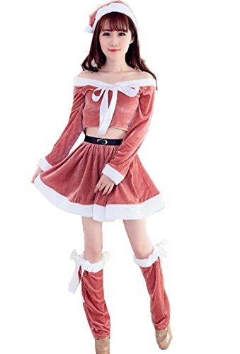 4色入り クリスマス コスチューム サンタ コスプレ サンタコス クリスマス サンタクロース コスチューム 4点セット セクシーサンタ ミニスカサンタ ミニスカート (ピンク)