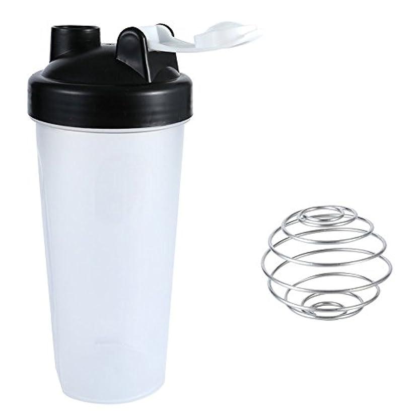 渇き生産的朝食を食べるSports Pro プロテインシェイカー 600ml シェーカーボトル ブラック (600ml)