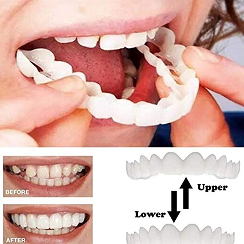 オーナメント集団協力4PCS上下のインスタントスマイルコンフォートフィットフレックス化粧品の歯の歯のトップ化粧品のベニヤ[エネルギークラスA]