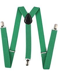 Bocoss-クリップオンサスペンダー弾性[グリーン]と女性のジーンズパンツズボンのためのサスペンダーサスペンダー男性