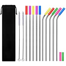 CREUSA Stainless Steel Straws, One Set of 10 Long Reusable Drinking Metal Straws with 12 Silicone Tips for Mason Jar, Yeti Tumbler, Tervis