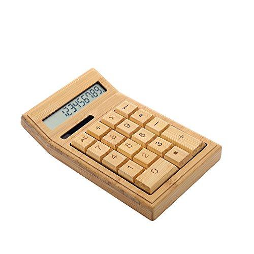 Aibecy 竹製電卓 12桁 実務電卓 太陽エネルギー電卓 デスクトップタイプ 大型LCDディスプレイ ポータブル