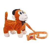 IX&ocu 電気歩く猿のプラシ天のおもちゃ、電池式のぬいぐるみの動物の子供のおもちゃ (褐色)