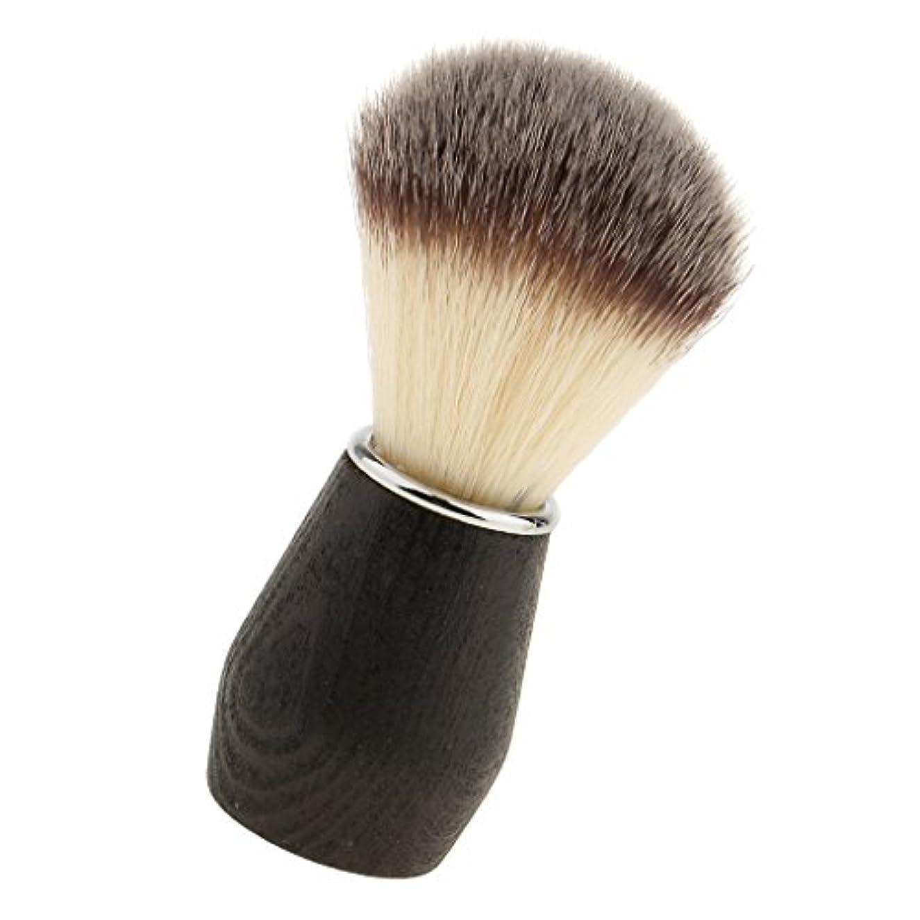 不快な歌破壊sharprepublic ポータブルメンズインシェービングブラシナイロン髪木製ハンドルかみそり理髪ツール - 3