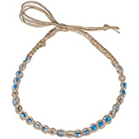 BlueRica Braided Hemp Cord Anklet Bracelet with Clear and Light Blue Glass Beads