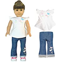 Pink Butterfly Closet Jeans and Shirt with Butterfly Embroidery Cloth Set for 18-Inch Dolls 2-Piece [並行輸入品]