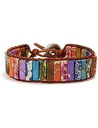 ASKMOON 7 Chakra Bracelets for Women with Real Stones Leather Wrap Healing Bead Bracelet Women Men Boho Friendship Jewelry
