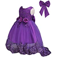 21KIDS Sequin Lace Flower Elegant Wedding Party Princess Birthday Gown Pageant Girl Long Sleeve Dress