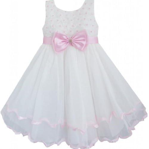 DC72 こどもドレス キッズドレス 蝶ネクタイ 結婚式 発表会 白 パール ローズ 層 110cm
