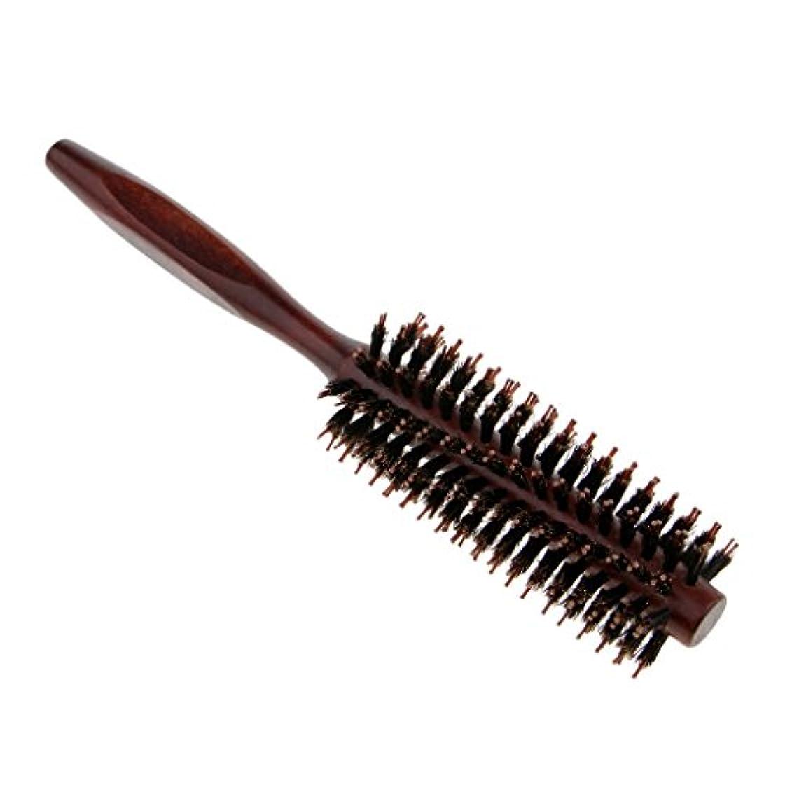寛解飢饉オープニングラウンドヘアブラシ 木製ハンドル 丸い 櫛 自然な毛 整髪 ヘアブラシ 2タイプ選べ - #2